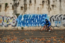 Cyclist and Graffiti