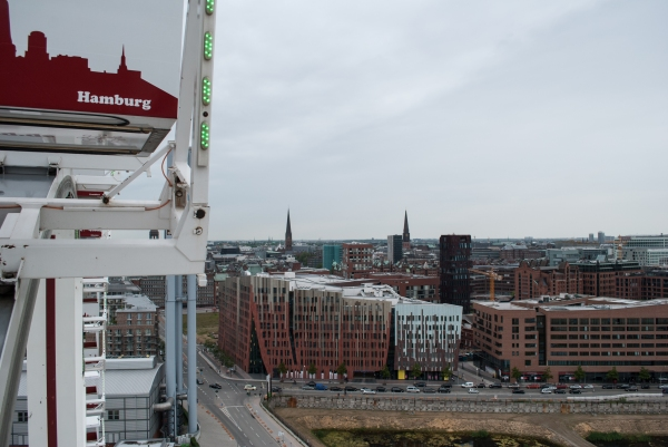 The largest transportable ferris wheel in the world, my first ferris wheel ride in Hafencity, Hamburg.