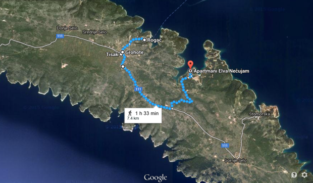 Our outgoing route from Rogač.